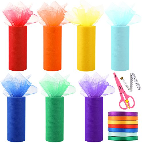 Auihiay 7 Pieces Rainbow Tulle Fabric Spool/Roll (6 Inch x 25 Yards) with 7 Pieces Satin Ribbon Fabric, 1 Pieces Soft Measure Tape and Scissors for Party Decoration, Table Skirt and Craft Creation