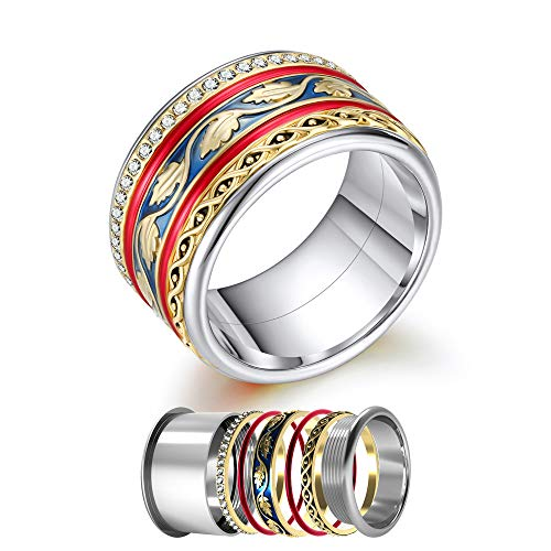 Women's in Full Bloom Floral Enamel and Crystal Accent Stacked Ring Combination Size 6 7 8 9 10