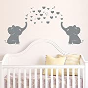 Ares Two Cute Elephants Family Wall Decals With Hearts And Music Symbols For Kid Room Deco