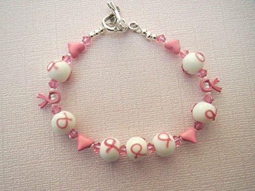 Swarovski Breast Cancer Bracelet - Breast Cancer Awareness Glass Bracelet Swarovski with Hearts Sterling Clasp