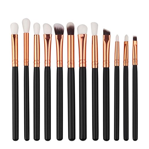 Price comparison product image 12PCs Mini Cosmetic Eyebrow Makeup Brush Sets Kits Tools (Black)