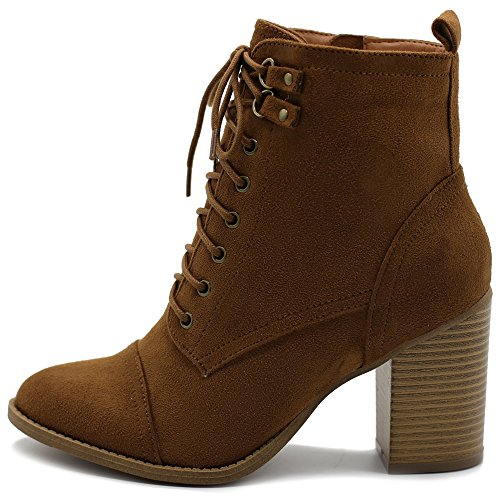 Boots Stack Platform Heel (Ollio Women's Shoe Faux Suede Lace up Stacked High Heel Ankle Boots SSB09 (10 B(M) US, Tan))