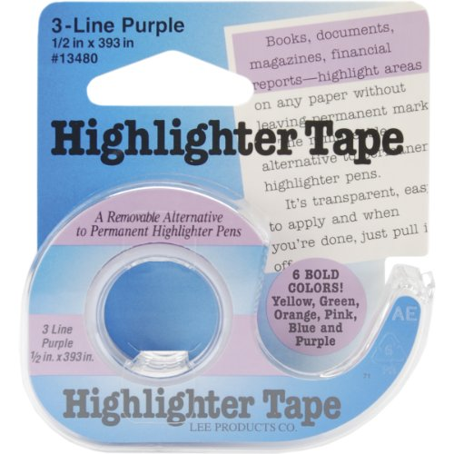 Lee Removable Highlighter Tape, 1/2