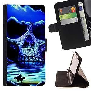 BullDog Case - FOR/Samsung Galaxy Note 3 III / - / HEADLESS HORSEMAN SKULL NIGHT HORSE /- Monedero de cuero de la PU Llevar cubierta de la caja con el ID Credit Card Slots Flip funda de cuer