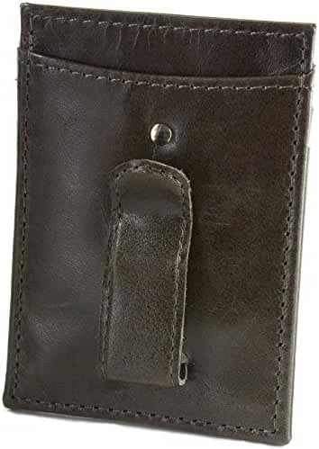 Hammer Anvil Men's Genuine Leather Minimalist Money Clip Front Pocket Wallet