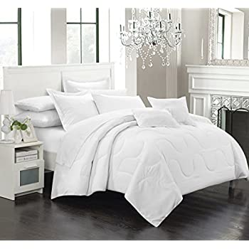 chic home 7 piece donna bedding basics down alternative solid comforter set queen white - Bed Set Queen
