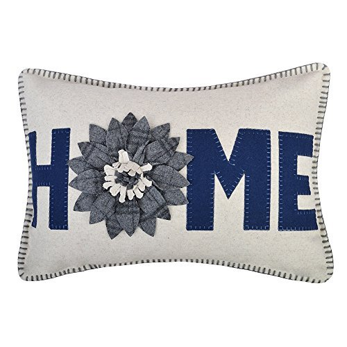 JWH 3D Sunflower Accent Pillow Case Wool Handmade Cushion Cover Decorative Stereo Pillowcase Home Bed Living Room Office Chair Couch Decor Gift 14 x 20 Inch Navy Blue Gray Checkers