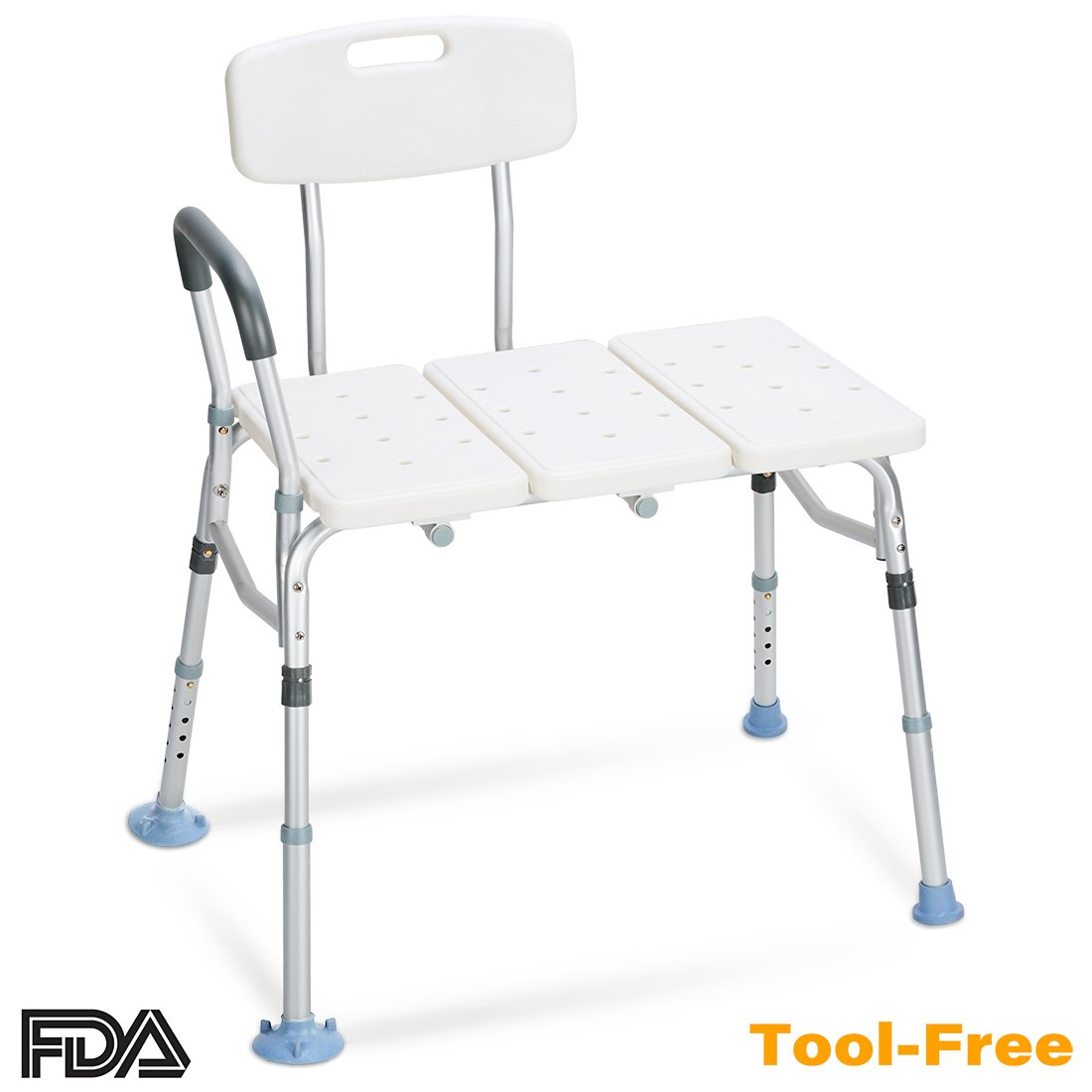 OasisSpace Tub Transfer Bench 400 lb - Heavy Duty Bath & Shower Transfer Bench - Adjustable Handicap Shower Chair with Reversible Backrest - Medical Bathroom Aid for Disabled, Seniors, Bariatric
