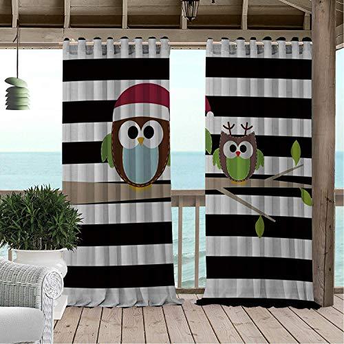 Linhomedecor Gazebo Waterproof Curtains Owl Branch Black White Stripe doorways Grommets Cabana Curtain 120 by 84 ()