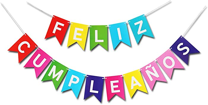 Colorful Happy Birthday Banner Feliz Cumpleaños Garland Bunting Burlap Mexican Fiesta Theme Party Decorations Birthday Party Supply Favors