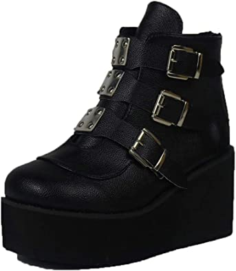 Womens Platform Wedge High Heel Ankle Boots Winter Buckle Round Toe Casual Shoes