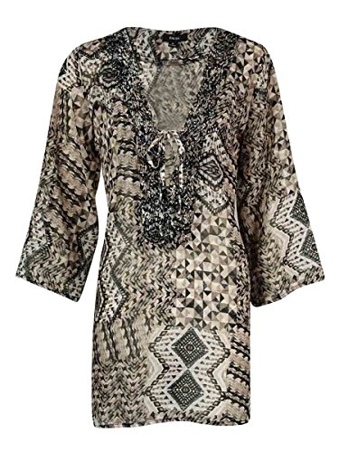 Raviya Women's Beaded V-Neck Printed Tunic Swim Cover (L, Black)