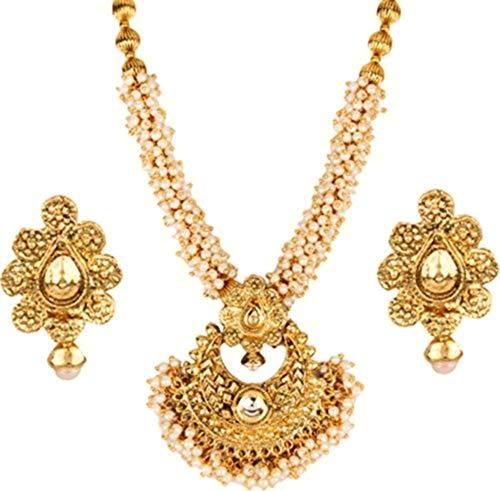 22K Gold Plated Designer Traditional Bollywood Fashion Ethnic Wedding Bridal Kundan White Pearl Necklace Jewelry ()