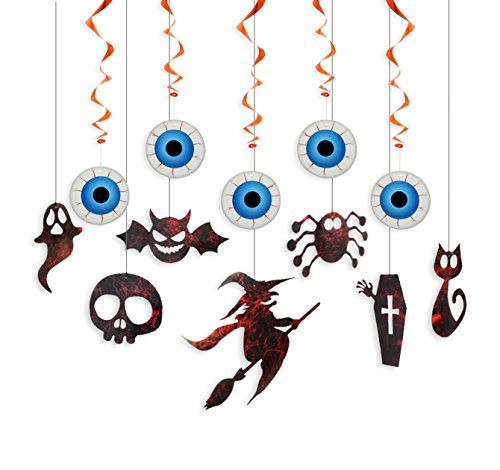 Halloween Hanging Swirl Decorations Kit for Party Supplies and Room,Scary Eyes Witch Ghosts Bats Vampire Swirl Hanging by Friday Night, (Room Decorations For Halloween)