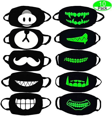 Mouth Mask, MOLYHUA 10 Packs Revel Cool Luminous Teens Face Mask Cute Teeth Pattern Kpop Mask Washable Anti Dust Cotton Halloween Mouth Mask for Men and Women