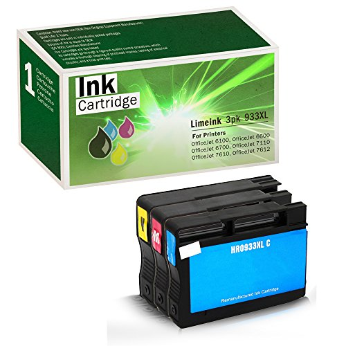 Limeink Compatible Ink Cartridge Replacements 932XL & 933XL High Yield (1 Cyan / 1 Yellow / 1 Magenta, 3 Pack)