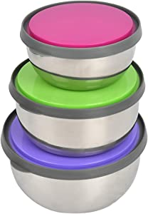 YANSHON 3 Pcs Stainless Steel Food Storage Containers | Kitchen Metal Food Storage Containers with Leak-proof Silicone Lids | Reusable & Washable | For Toddler Lunch, Snacks Storing