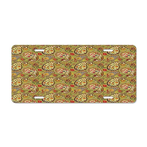 - Paisley Decor Eastern and Persian Oriental Style Tulip Floral Textile Pattern Green Red Cream and Paprika Customized License Plate Cover Aluminum Metal Car Licenses Plate Frame Holder For US Vehicles