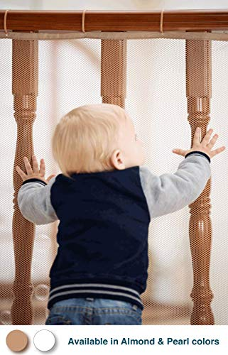 Roving Cove   Banister Guard   Baby Safety Stair Railing Net   Baby Proofing Stair Balcony Banister Rail Guard   Child Safety Stair Protection   Safe Rail   Indoor 10ft L x 3ft H   Almond Brown