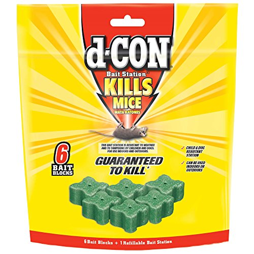 d-CON Refillable Corner Fit Mouse Poison Bait Station, 1 Trap + 6 Bait Refills