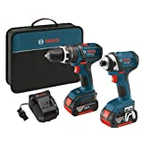 Bosch CLPK245-181 18-volt Lithium-Ion 2-Tool Combo Kit with 1/2-Inch Hammer Drill/Driver, 1/4-Inch Impact Driver, 2 4.0Ah Batteries, Charger and Case