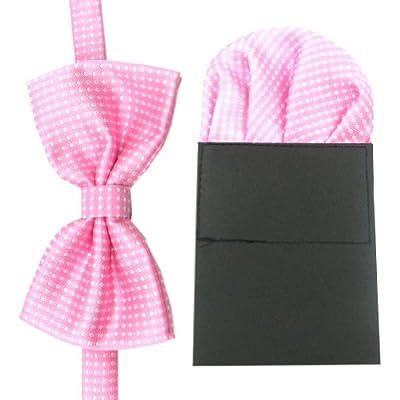 Enwis Tuxedo Mens Bowtie Pre-made Hankerchief Adjustable Wedding Party Polkadot Pink