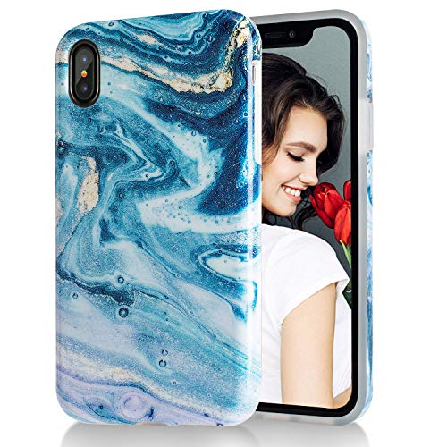 (iPhone X Case,iPhone Xs Case Blue Gold Starry Sky Marble,Slim Soft Flexible TPU Marble Pattern Cover for Apple iPhone X/iPhone Xs )