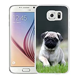 New Pupular And Unique Designed Case For Samsung Galaxy S6 With Cute Pug Dog In Grass White Phone Case