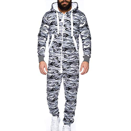 Clearance! Men's Fashion Unisex Onesie Drawstring Hooded Jumpsuit Camo Non Footed Playsuit Sportswear Zip Up Overalls