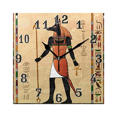- WXLIFE Vintage Egypt Egyptian Anubis Square Acrylic Wall Clock, Silent Non Ticking Art Painting for Kids Bedroom Living Room Office School Home Decor