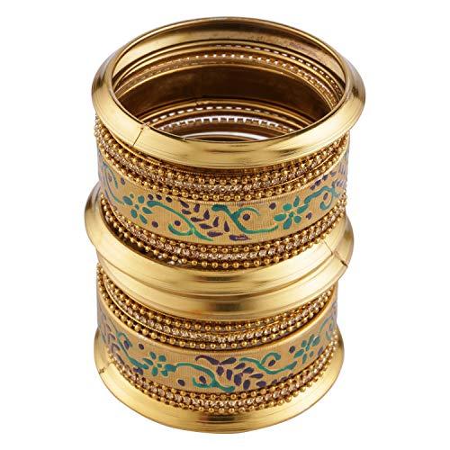 Efulgenz Boho Vintage Antique Gypsy Tribal Indian Oxidized Gold Plated Bracelets Bangle Set (18 Pc)
