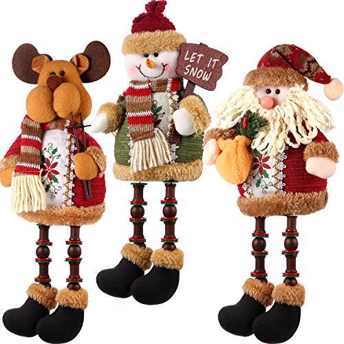 Sumind 3 Pieces Christmas Sitting Santa Claus Snowman Reindeer Christmas Ornament Long Legs Table Fireplace Decor Home Decoration Christmas Figurines Plush