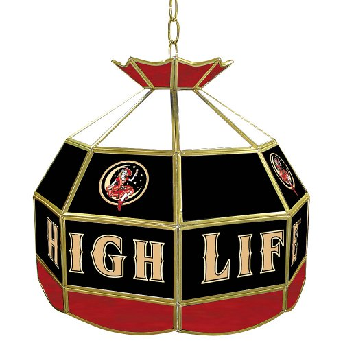 "Miller High Life ""Girl in the Moon"" Tiffany Gameroom Lamp, 16"""