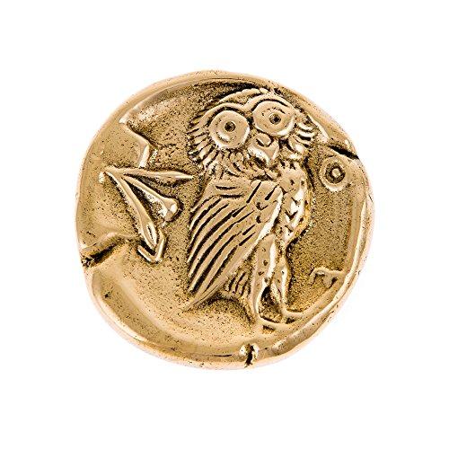Handmade Solid Brass Metal Desk Paperweight (Presse Papier), Owl of Minerva - Greek Athena Owl Design, Diameter: 7.5cm (2.9'') ()