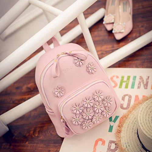 Clode® Nueva mochila de flor impresión Mochila viaje bolso de la escuela de las mujeres Color de rosa