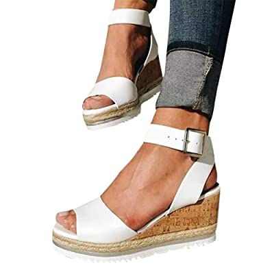 Gibobby Sandals for Women Wide Width, Open Toe Slip On Platform Sandal Espadrilles Buckle Strap Wedges Shallow Beach Shoes at Women's Clothing store