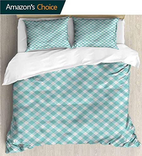 VROSELV-HOME Bedspread Set Queen Size,Box Stitched,Soft,Breathable,Hypoallergenic,Fade Resistant Print,Decorative Quilted 2 Piece Coverlet Set with 2 Pillow Shams-Aqua Vintage Gingham Pop Art Retro