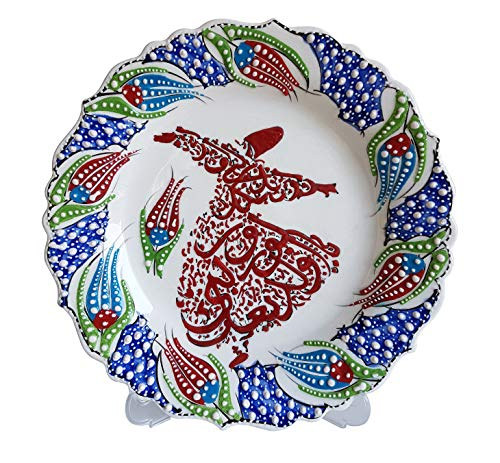 Bead Global Hand Painted Turkish Whirling Dervish with Tulip Design Decorative Ceramic Plate for Wall Hanging, Plates for Display - Kitchen or Home Decor