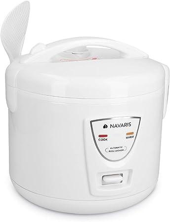 Navaris Arrocera de 1.2 litros con función para Mantener Calor - Hervidor arroz 6 Personas - con Cuchara Vaso medidor y Cesta para Vapor - Blanca: Amazon.es