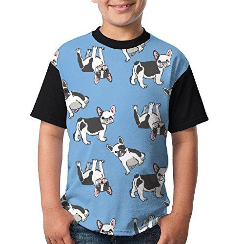 Funny Bulldog Youth Popular Short Sleeve Baseball T-Shirts Round Neck Tees Tops