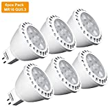 GU5.3 LED Light Bulbs 12V, LuminWiz 5W MR16 LED Spot Lights, 35W Halogen Bulbs Equivalent, 350lm, 36° Beam Angle, 3000K Warm White, 6-Pack