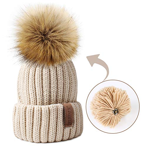 Kids Winter Knitted Pom Beanie Bobble Hat Faux Fur Ball Pom Pom Cap Unisex Kids Beanie Hat,Beige,One Size