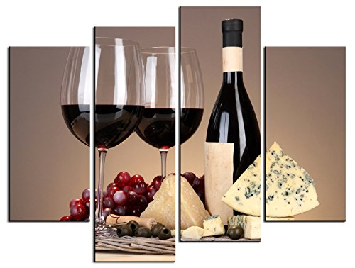 Red Wine And Cheese Canvas Prints Wall Art Painting