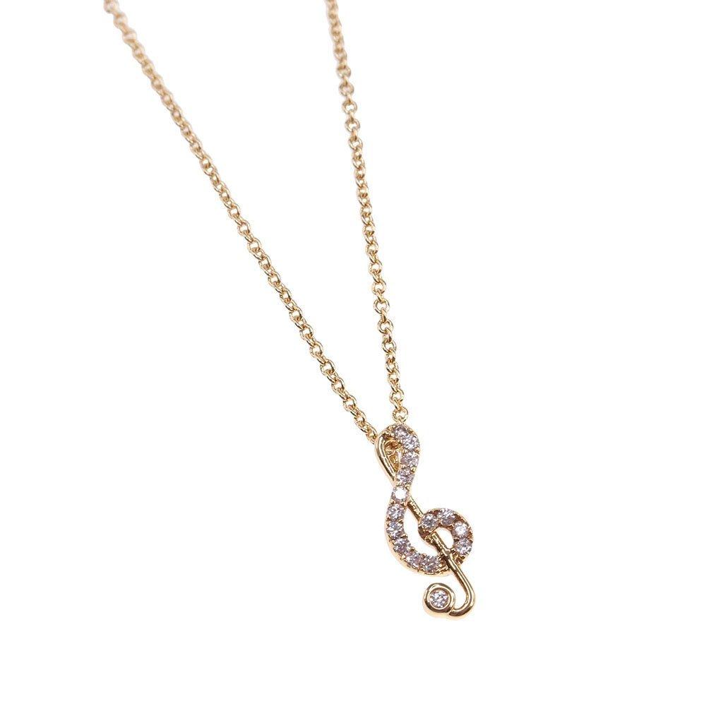 Music Note Necklace Brass Treble Clef Minimalist CZ Dainty Gold Silver Everyday Jewelry Gift BN554-2