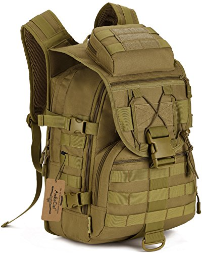 ArcEnCiel Camping Bags Waterproof Molle System Backpack Military 3P Tad Tactical Backpack Assault Travel Bag Cordura -Rain Cover Included (Coyote Brown)