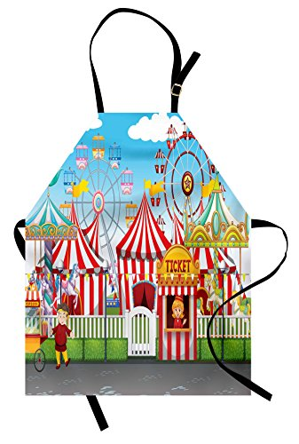 Ambesonne Circus Apron, Carnival with Many Rides and Shops Illustration Landscape and Cloudy Sky View Print, Unisex Kitchen Bib Apron with Adjustable Neck for Cooking Baking Gardening, Multicolor