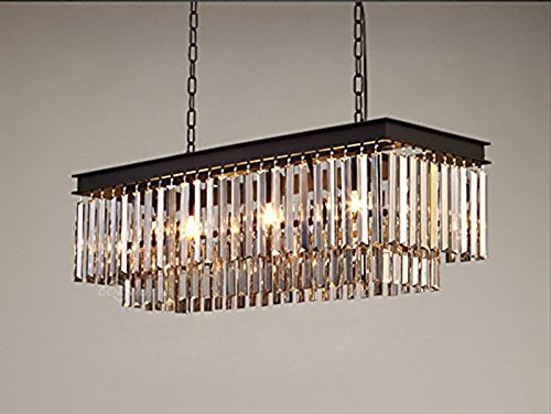 New Classic 3 Light - Perfectshow New Design Classic Crystal Pendant Light Fixture Rectangle Orbit Chandelier Double Layer Strip Crystal Clear (Black 3-light)