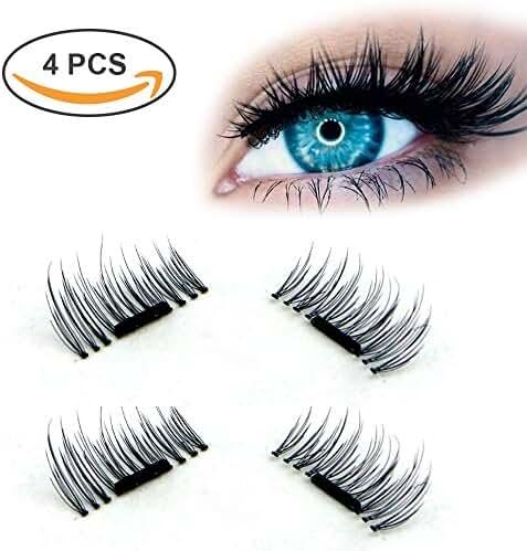 Wisdompark New Magnetic Eyelashes 4 Pieces/ Box 3D Reusable False Magnet Eyelashes Extension kit
