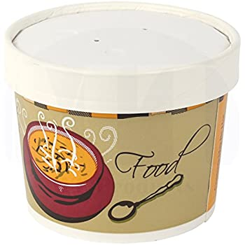 Double-Wall Poly Paper Soup/Hot Food Cup with Vented Paper Lid by MT Products - (20 Cups and 20 Lids) (12 Ounce)