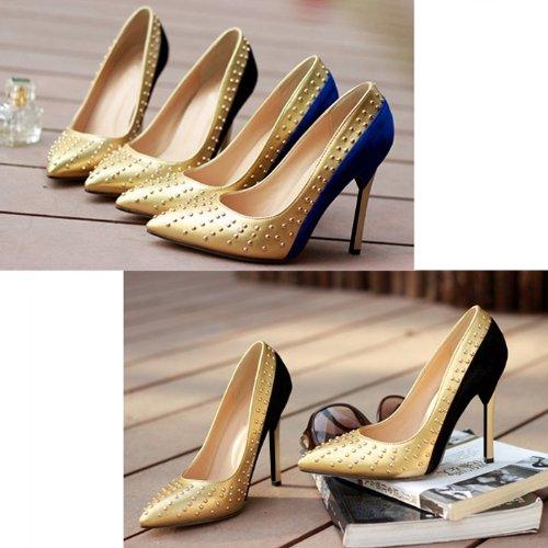 "Sexy Fashion Women Platform Proms Pump High Heels 4.33"" Bridal Party Wedding Shoes Black Blue Color"